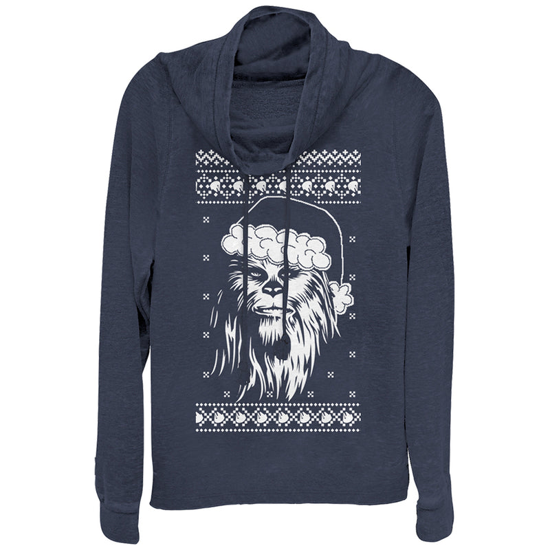 Star Wars Ugly X-mas Sweater Chewie Santa Juniors Graphic Cowl Neck Sweatshirt