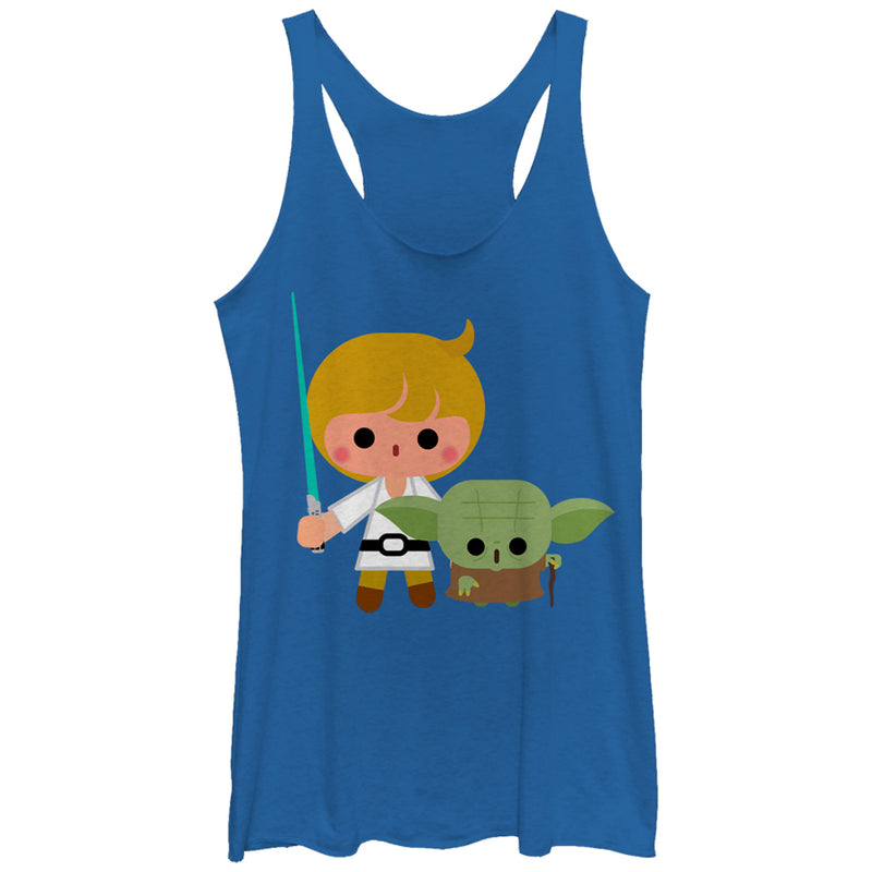 Star Wars Women's Cute Cartoon Luke Yoda  Racerback Tank Top  Royal Blue Heather  L