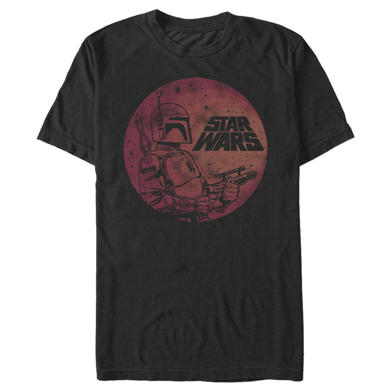 Star Wars Boba Fett Retro Circle Mens Graphic T Shirt