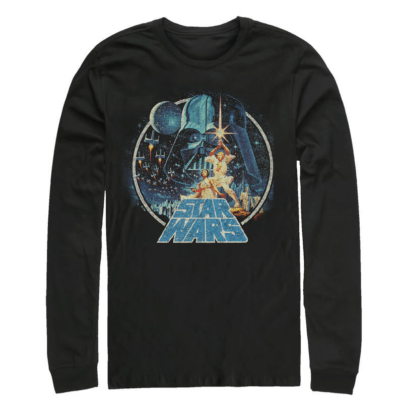 Star Wars Men's Classic Scene Circle  Long Sleeve Shirt  Black  M