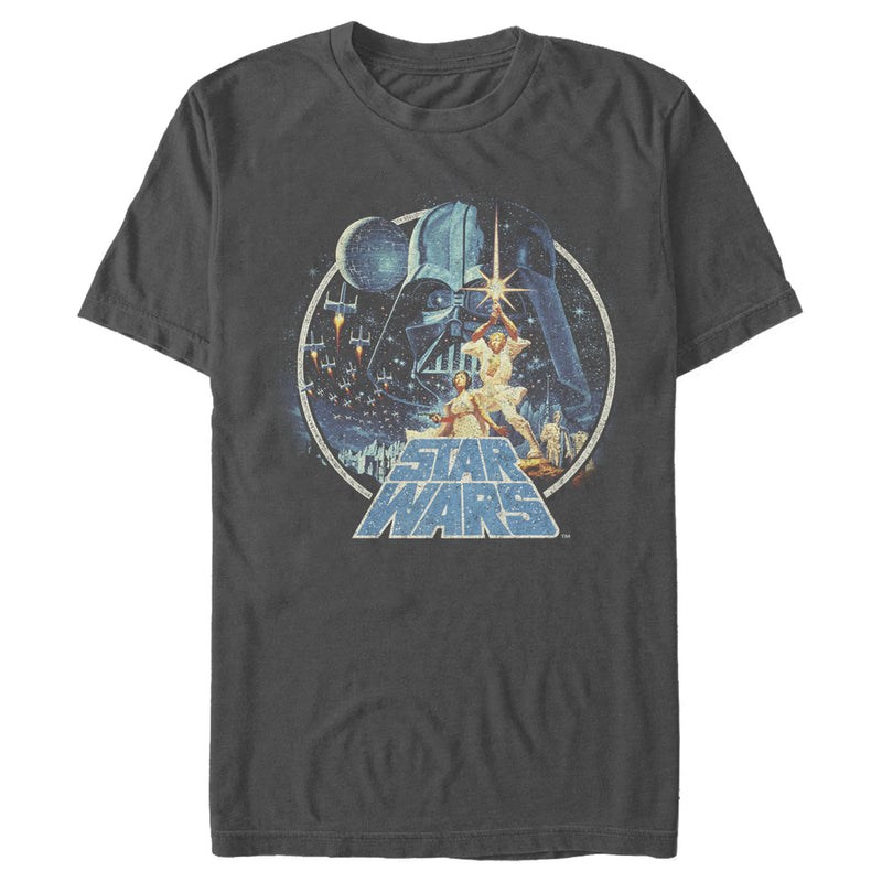 Star Wars Men's Classic Scene Circle  T-Shirt  Charcoal  S