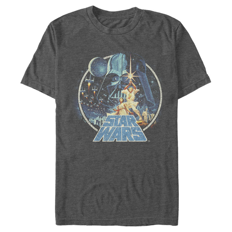 Star Wars Men's Classic Scene Circle  T-Shirt  Charcoal Heather  S