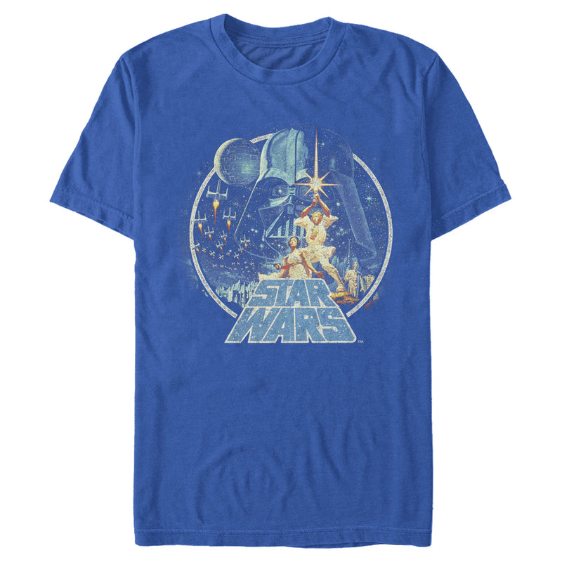 Star Wars Men's Classic Scene Circle  T-Shirt  Royal Blue  2XL