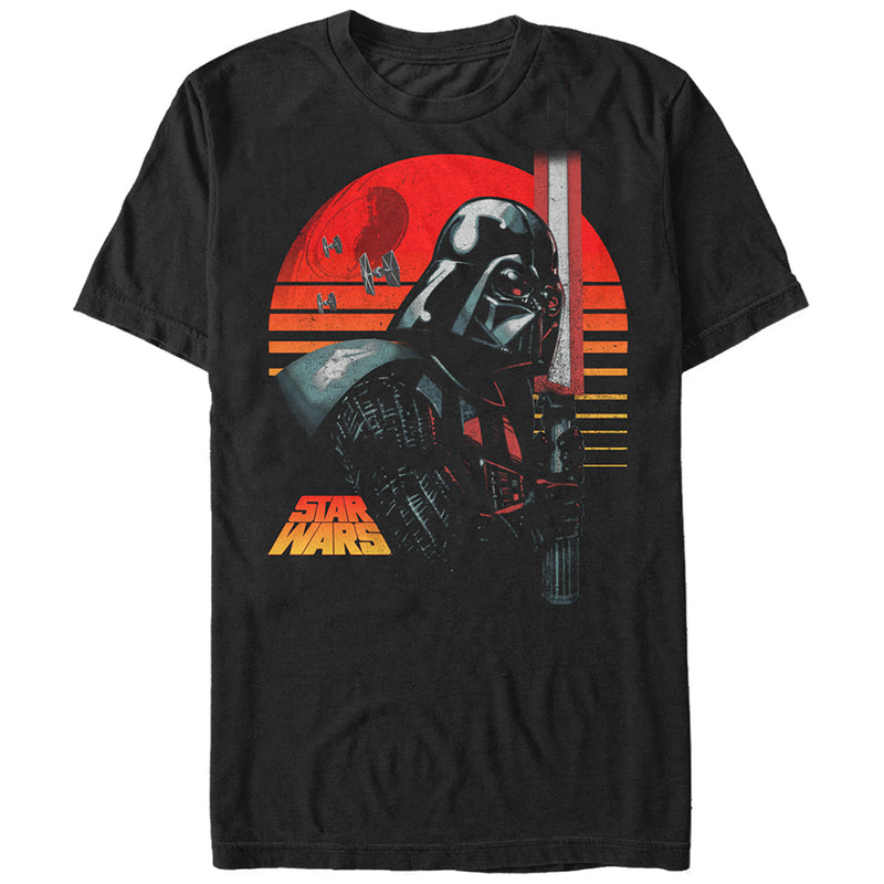 Star Wars Death Star Vader Sunset Mens Graphic T Shirt
