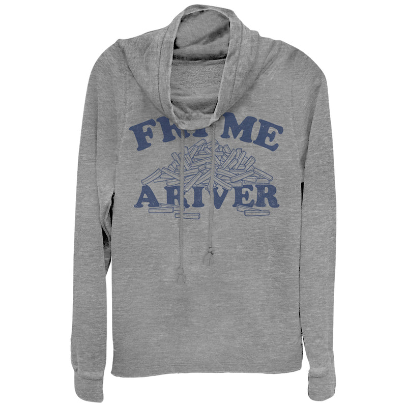 CHIN UP Fry Me a River Juniors Graphic Cowl Neck Sweatshirt