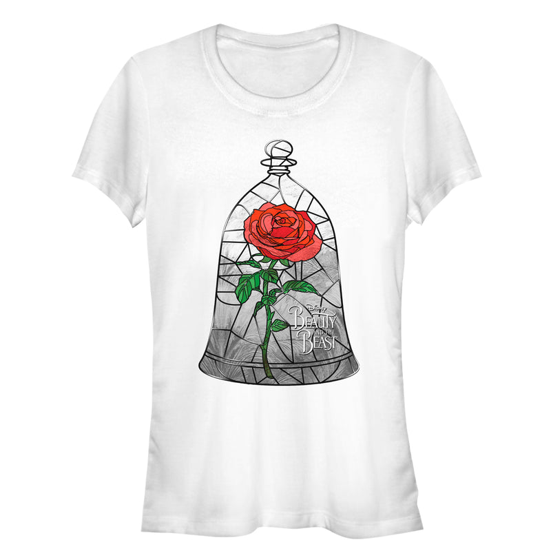 Beauty and the Beast Stained Rose Window Juniors Graphic T Shirt