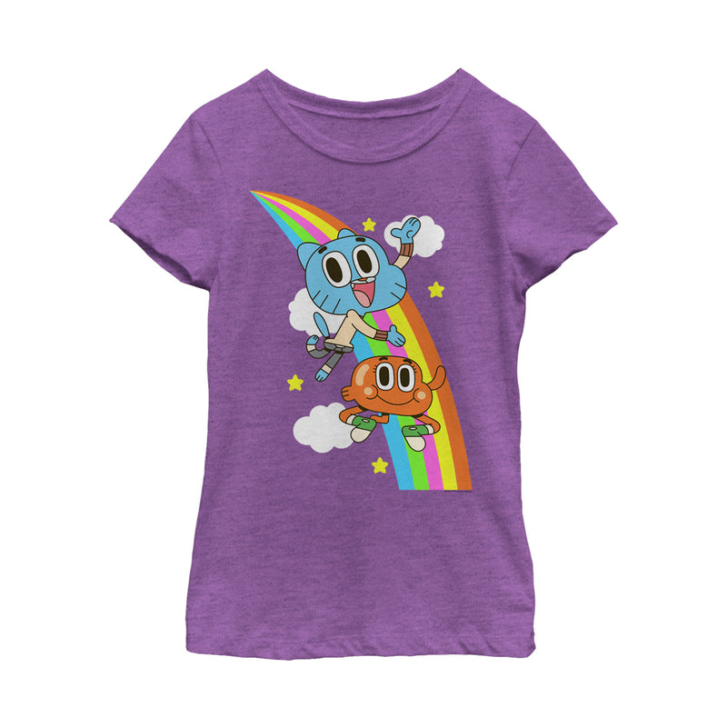 The Amazing World of Gumball Girl's Rainbow Brothers  T-Shirt  Purple Berry  M