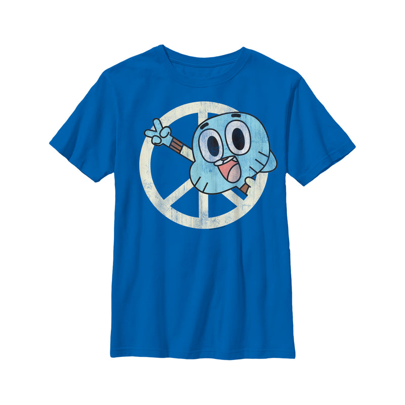 The Amazing World of Gumball Boy's Peace Sign Gumball  T-Shirt  Royal Blue  XL
