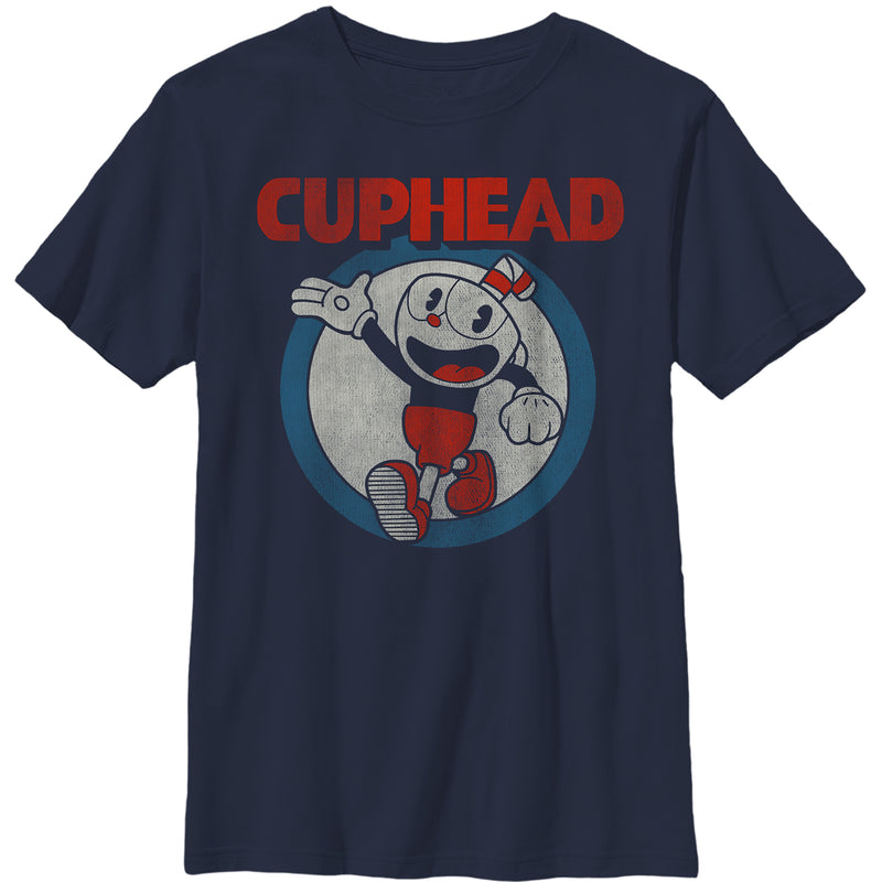 Cuphead Vintage Circle Boys Graphic T Shirt
