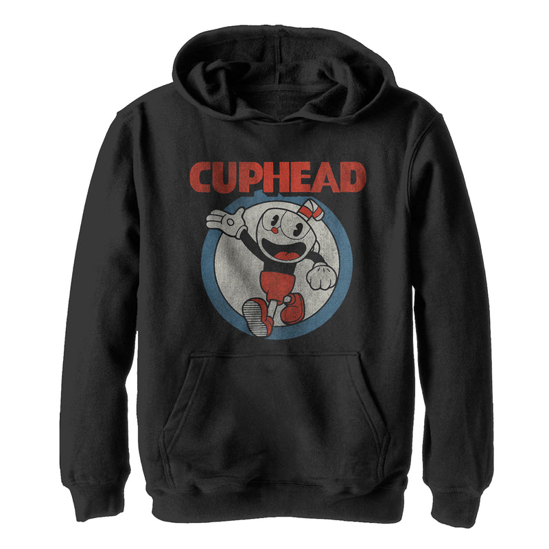 Cuphead Boy's Vintage Circle  Pull Over Hoodie  Black  M