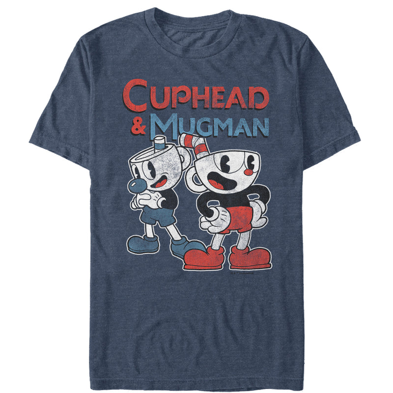 Cuphead Men's Retro Best Friend Mugman  T-Shirt  Navy Blue Heather  2XL