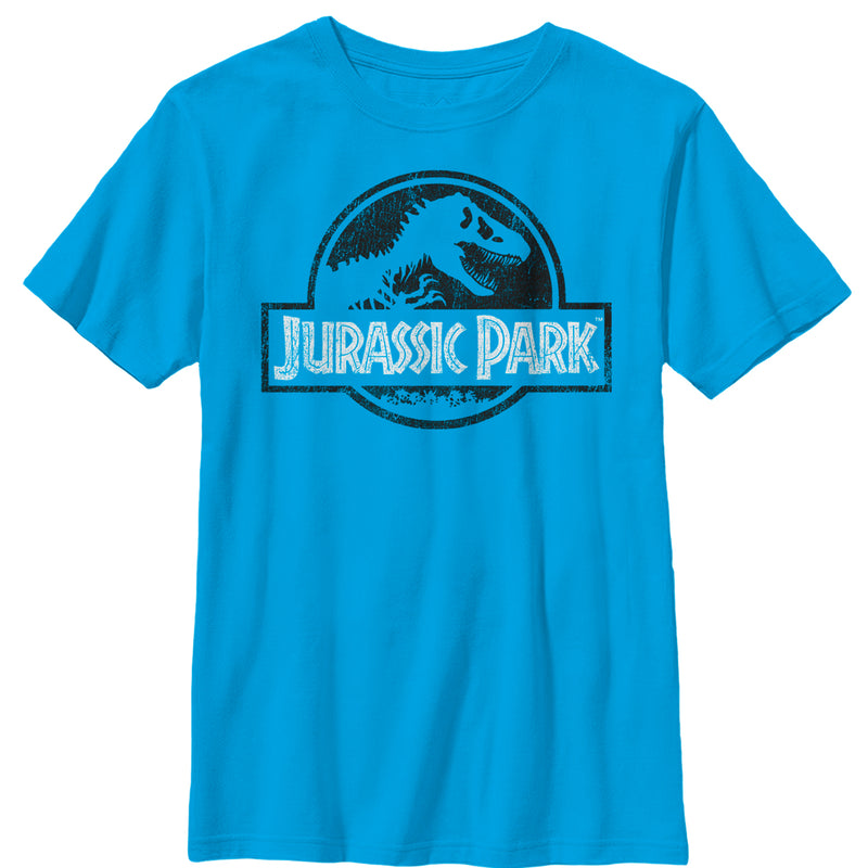 Jurassic Park Vintage Black and White Logo Boys Graphic T Shirt