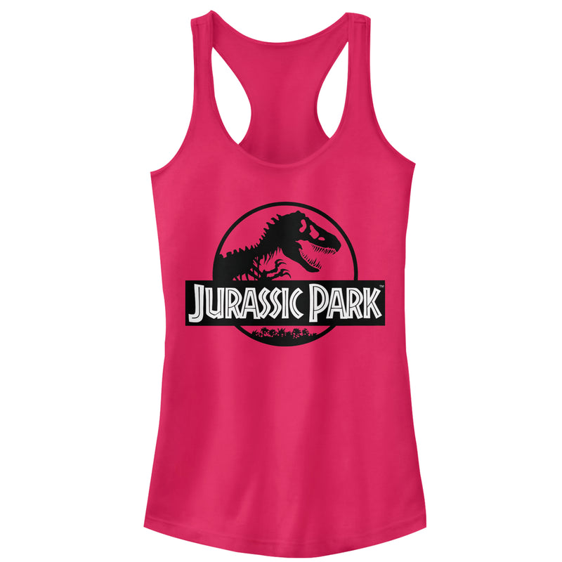 Jurassic Park Black and White Logo Juniors Graphic Racerback Tank