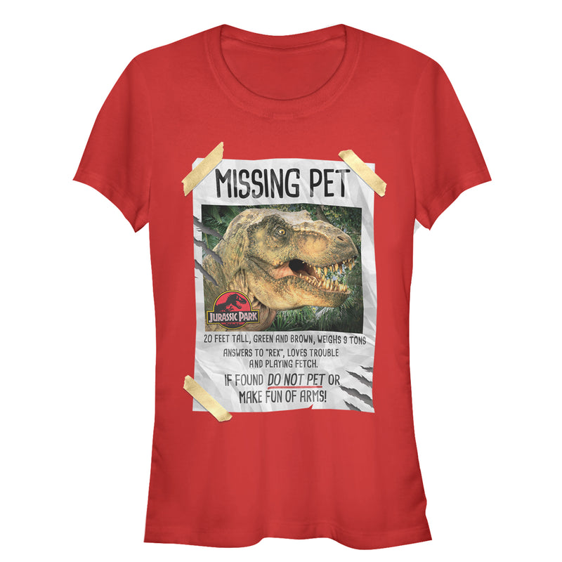Jurassic Park Junior's T. Rex Missing Pet  T-Shirt