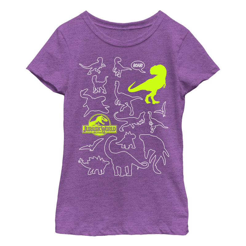 Jurassic World: Fallen Kingdom Girl's Dinosaur Outline  T-Shirt  Purple Berry  L