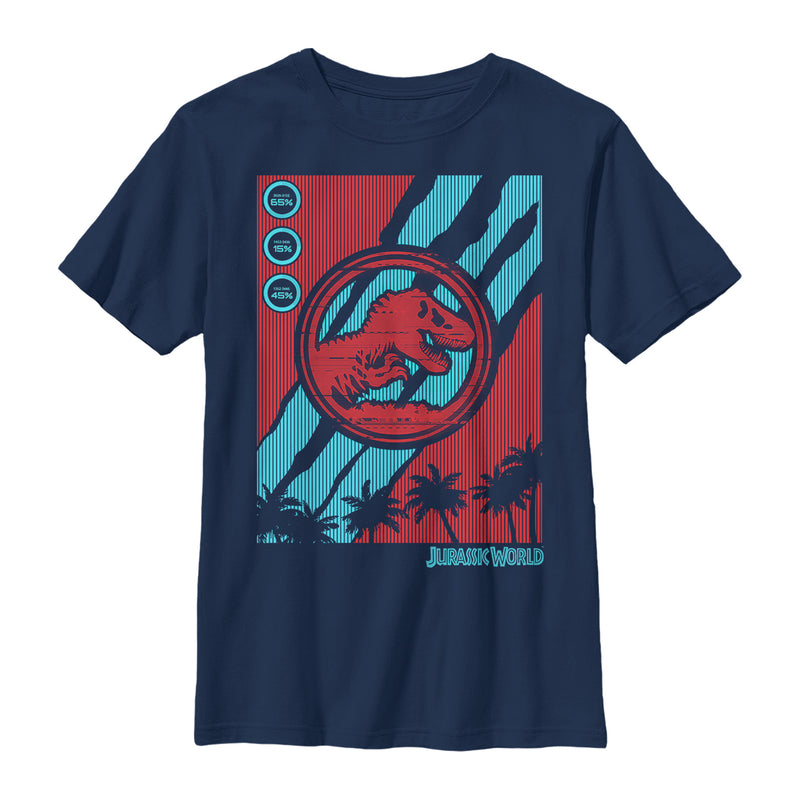 Jurassic World: Fallen Kingdom Boy's T. Rex Logo Streaks  T-Shirt  Navy Blue  XL
