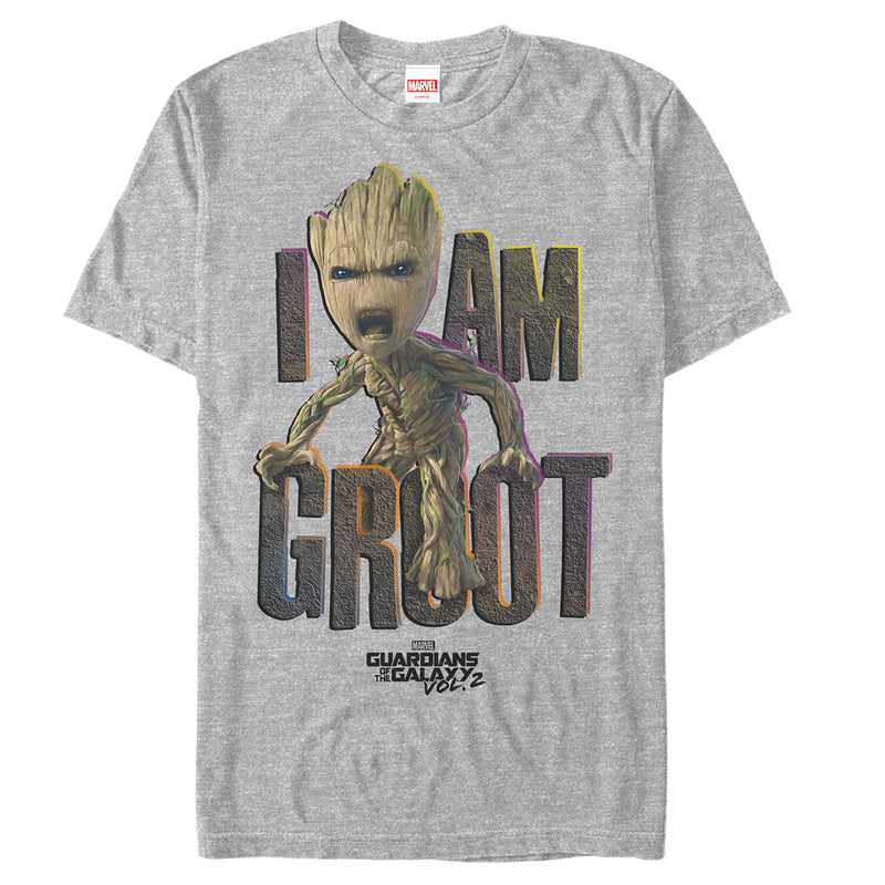 Marvel Men's Guardians of Galaxy Vol. 2 Groot Growl  T-Shirt  Athletic Heather  S