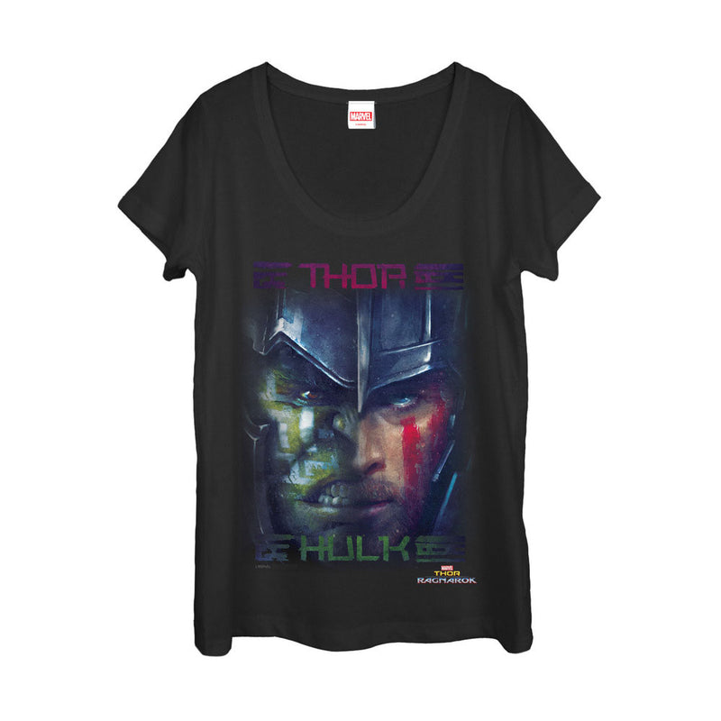 Marvel Thor: Ragnarok Hulk Battle Womens Graphic Scoop Neck