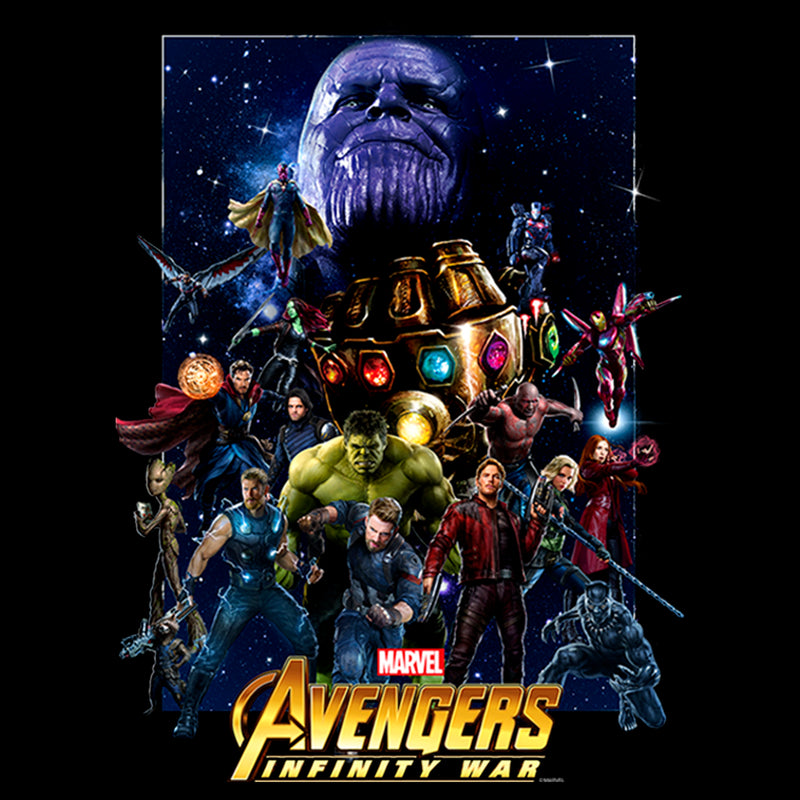 Marvel Men's Avengers: Infinity War Character Collage  Pull Over Hoodie