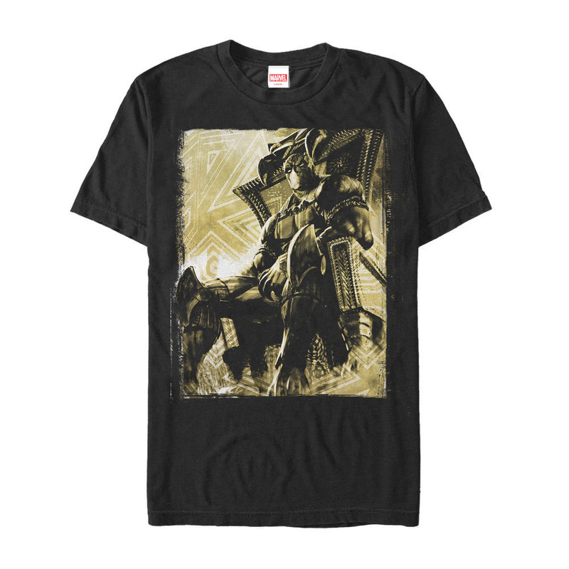 Marvel Men's Black Panther Throne  T-Shirt  Black