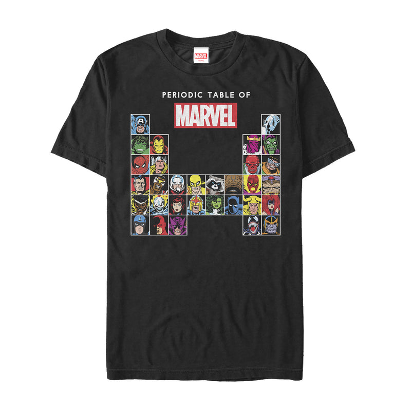 Marvel Men's Periodic Table of Heroes  T-Shirt  Black  S
