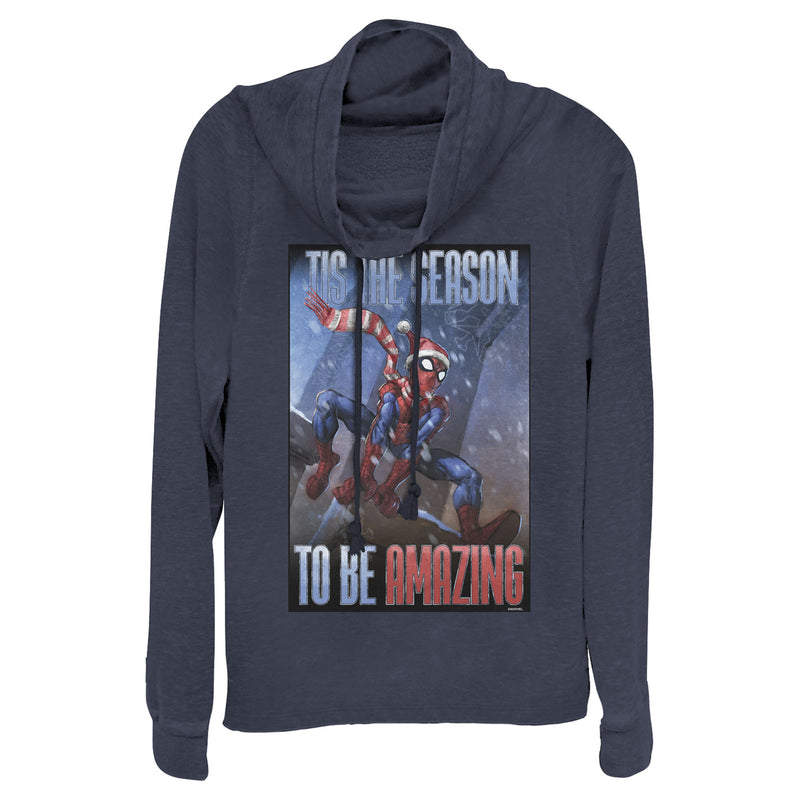 Marvel Junior's Spider-Man 'Tis The Season To Be Amazing  Cowl Neck Sweatshirt  Navy Blue  S
