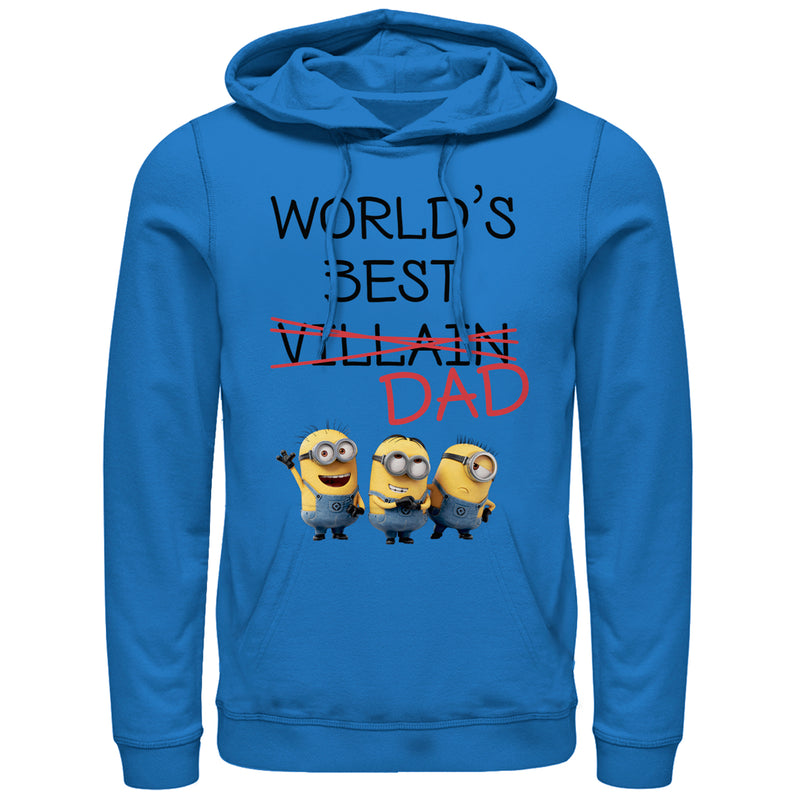 Despicable Me Men's Minions World's Best Villain Dad  Pull Over Hoodie  Royal Blue  XL