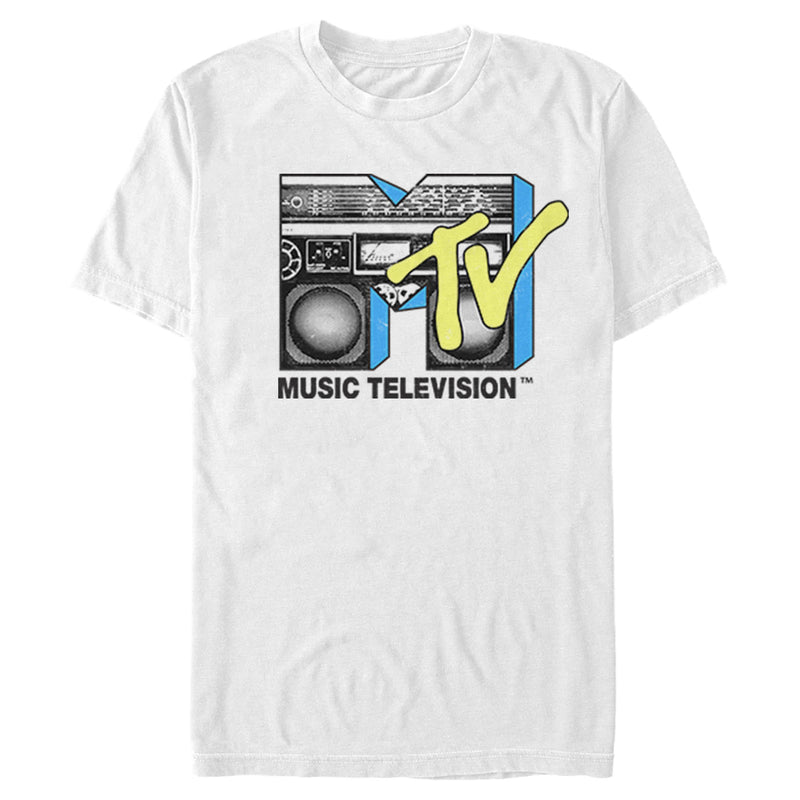 MTV Men's Boombox Retro Logo  T-Shirt  White  2XL