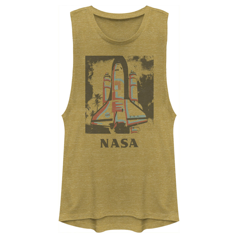 NASA Color Pop Launch Edgy Palm Tree Juniors Graphic Festival Muscle Tee