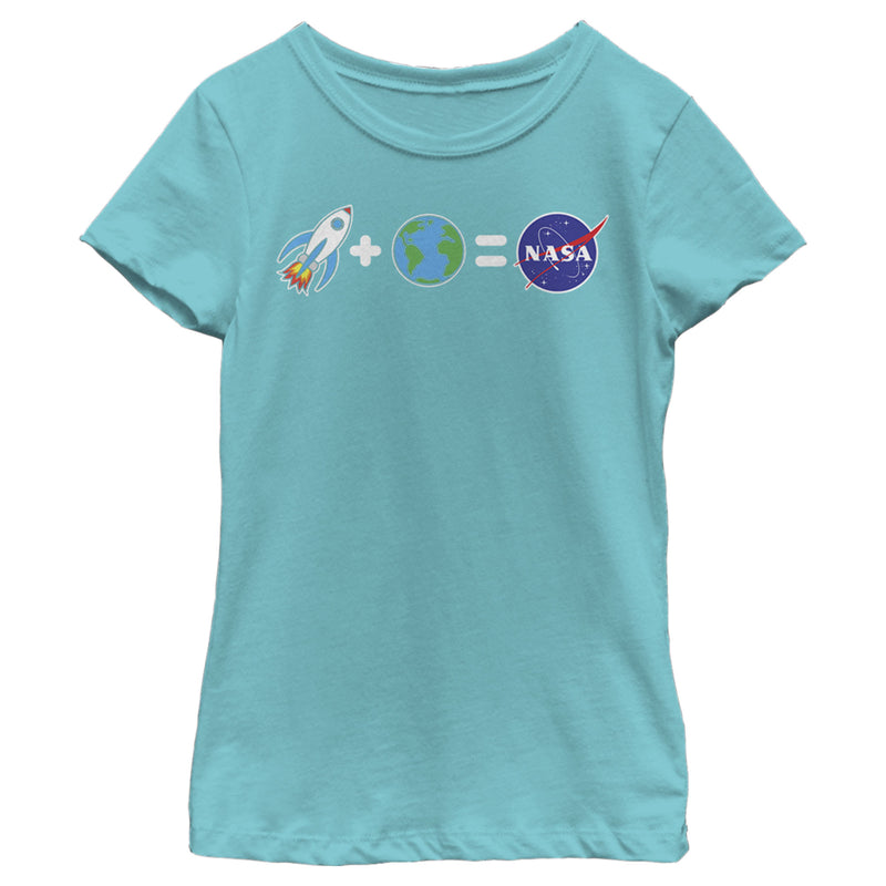NASA Girl's Emoji Space Equation  T-Shirt  Tahiti Blue  S