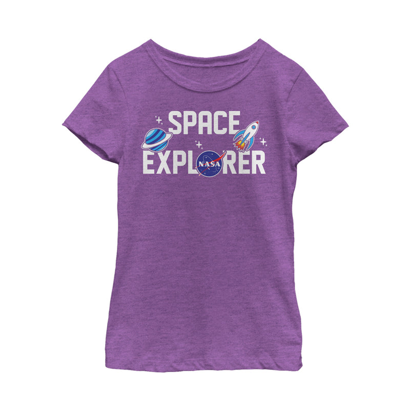 NASA Girl's Space Explorer  T-Shirt  Purple Berry  L