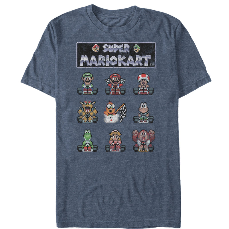Nintendo Super Mario Kart Pixelated Racers Ready Mens Graphic T Shirt