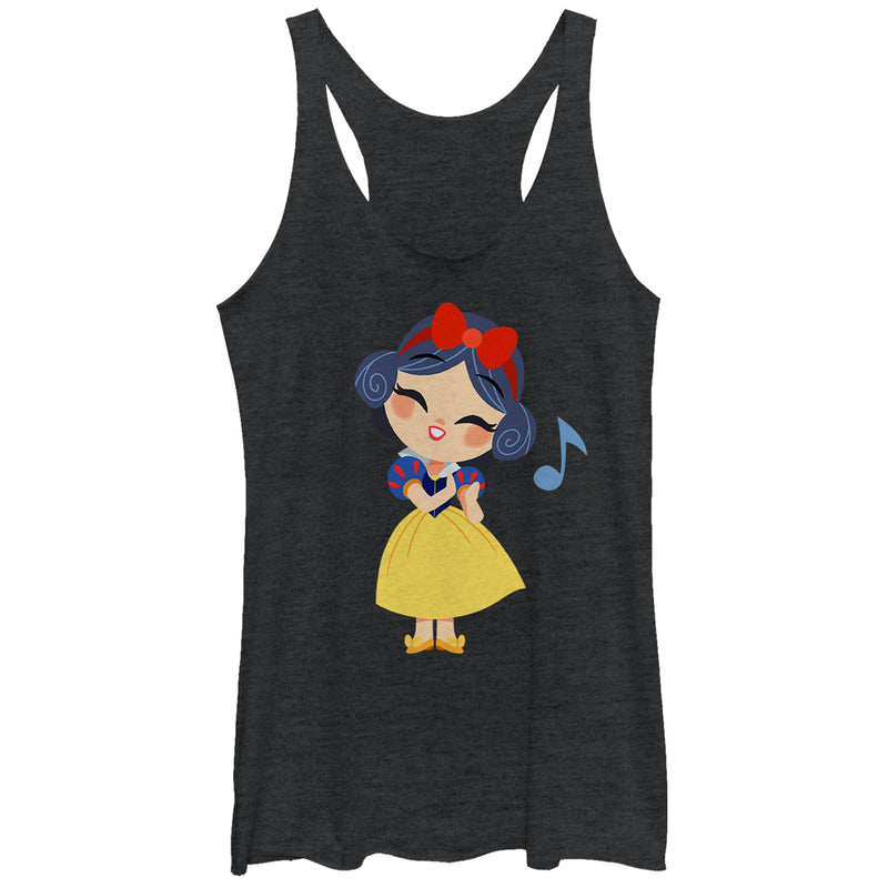 Snow White and the Seven Dwarves Women's Cartoon Song  Racerback Tank Top  Black Heather  XS