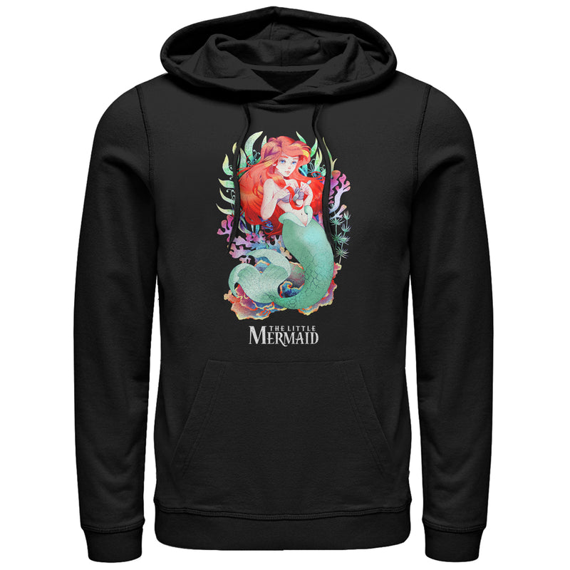 The Little Mermaid Artistic Ariel Mens Graphic Lightweight Hoodie