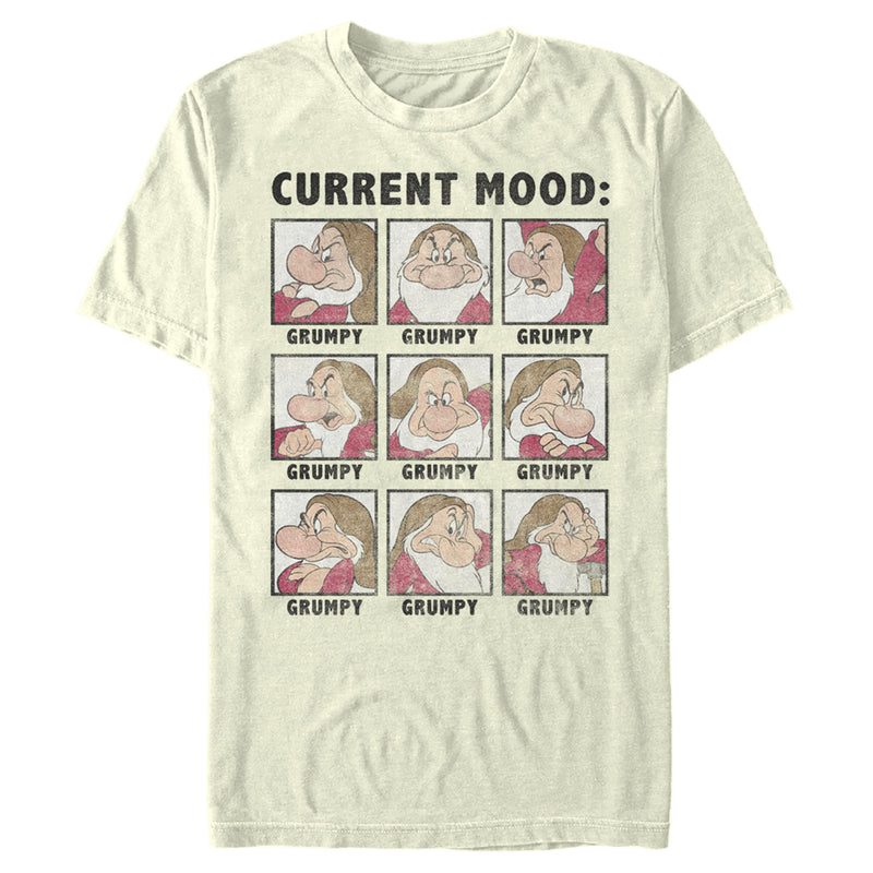 Snow White and the Seven Dwarves Men's Grumpy Current Mood  T-Shirt  Beige  M