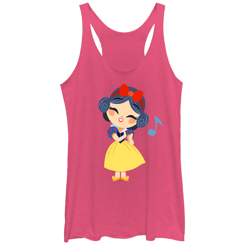 Snow White and the Seven Dwarves Women's Cartoon Song  Racerback Tank Top  Pink Heather  XS