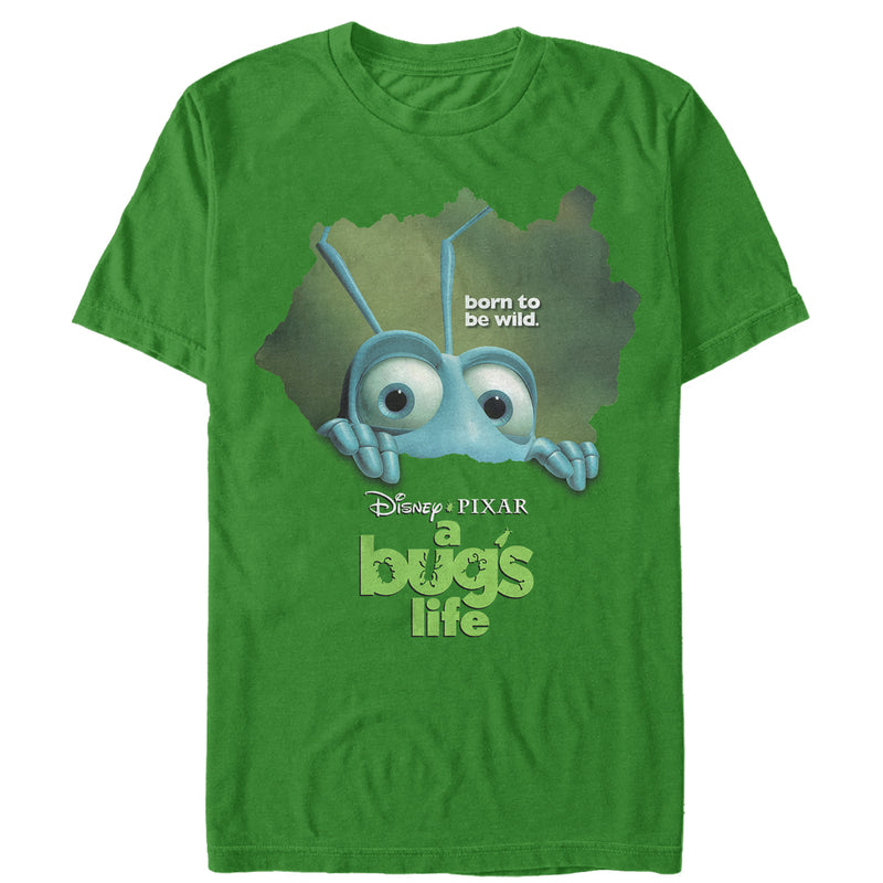 A Bug's Life Men's Flik Born to Be Wild  T-Shirt  Kelly Green  S