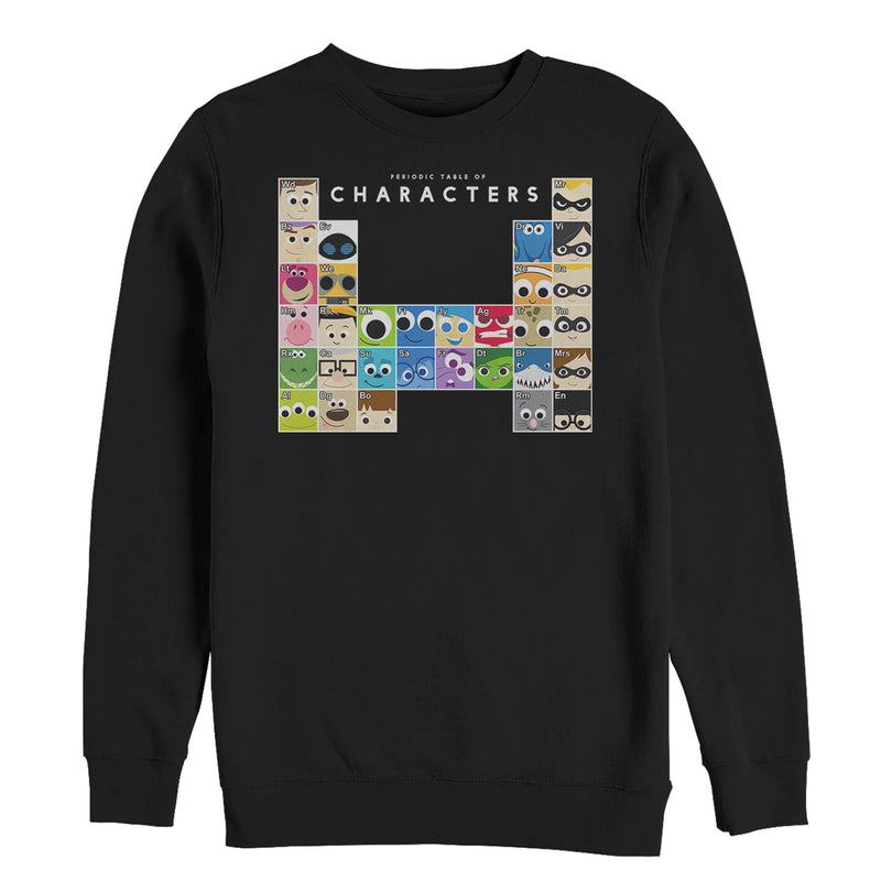 Pixar Character Men's Periodic Table  Sweatshirt  Black  XL