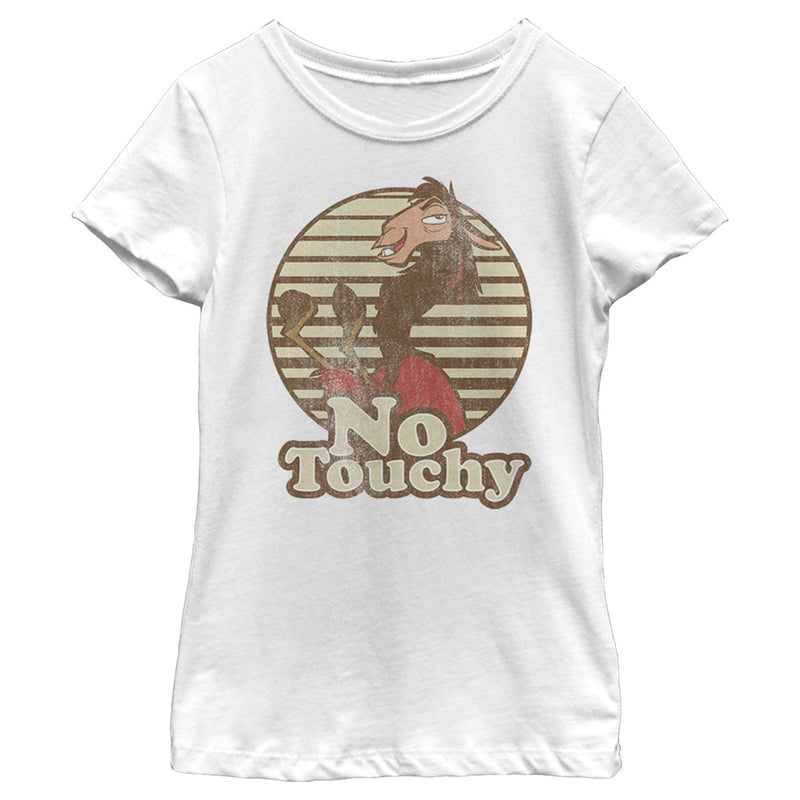 The Emperor's New Groove Girl's Kuzco No Touchy  T-Shirt  White  XS