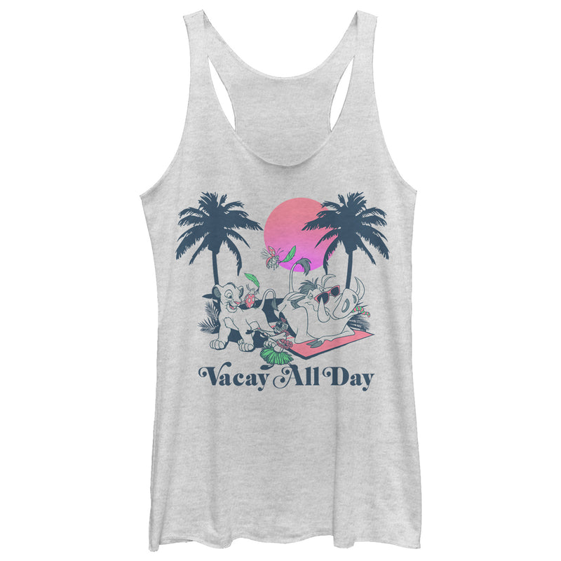 Lion King Women's Vacay All Day  Racerback Tank Top  White Heather  S
