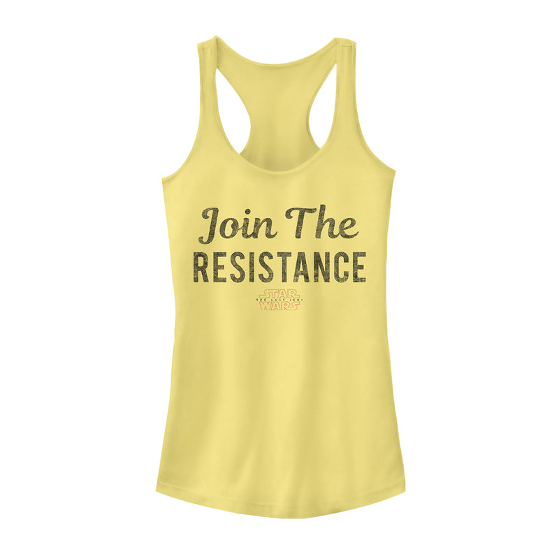 Star Wars The Last Jedi Join Resistance Text Juniors Graphic Racerback Tank