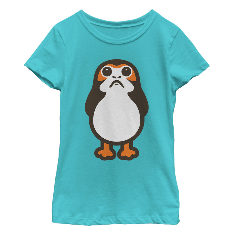 Star Wars The Last Jedi Girl's Porg Cartoon  T-Shirt  Tahiti Blue  M