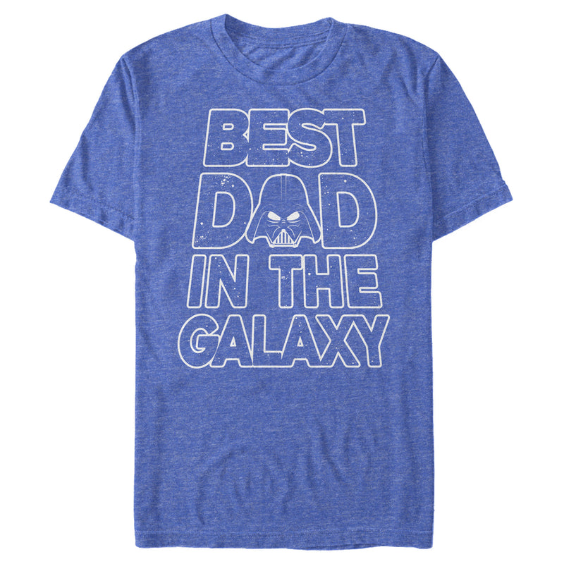 Star Wars Men's Father's Day Best Dad Darth Vader Helmet  T-Shirt  Royal Blue Heather  L