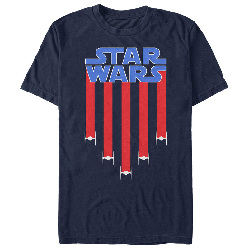 Star Wars Men's Fourth of July  TIE Fighter Stripes  T-Shirt  Navy Blue  L