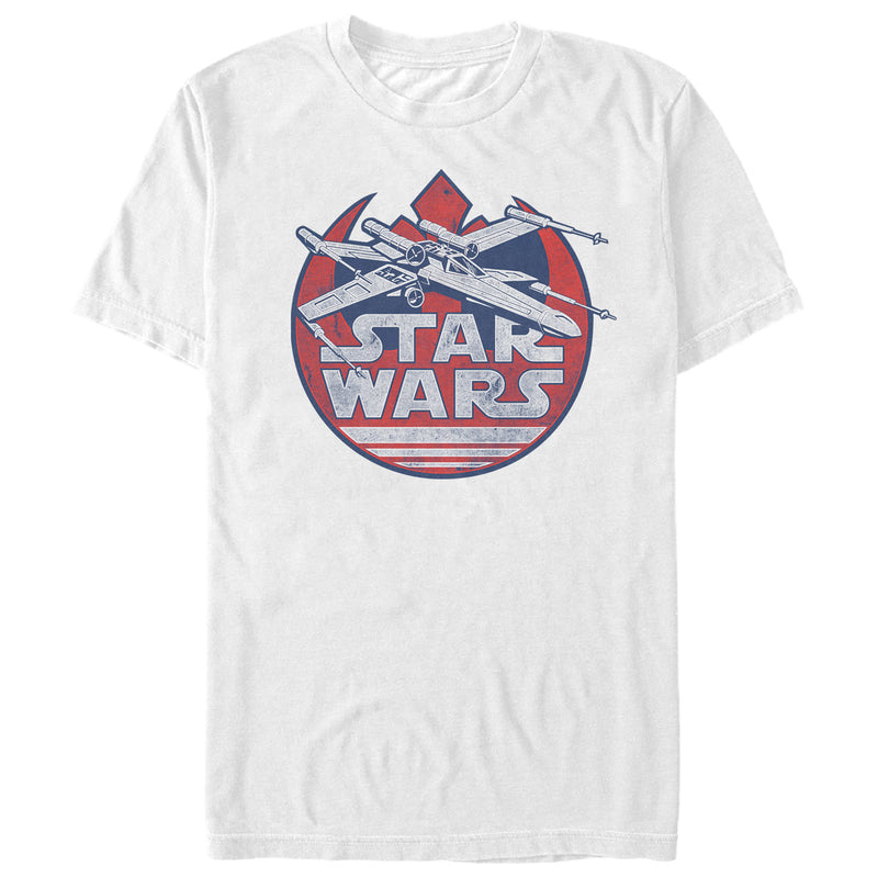 Star Wars Men's Fourth of July  X-Wing  T-Shirt  White  2XL