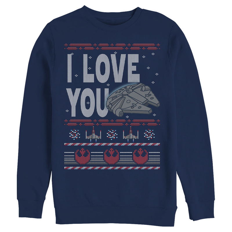 Star Wars Men's Christmas I Love You Quote  Sweatshirt  Navy Blue  2XL