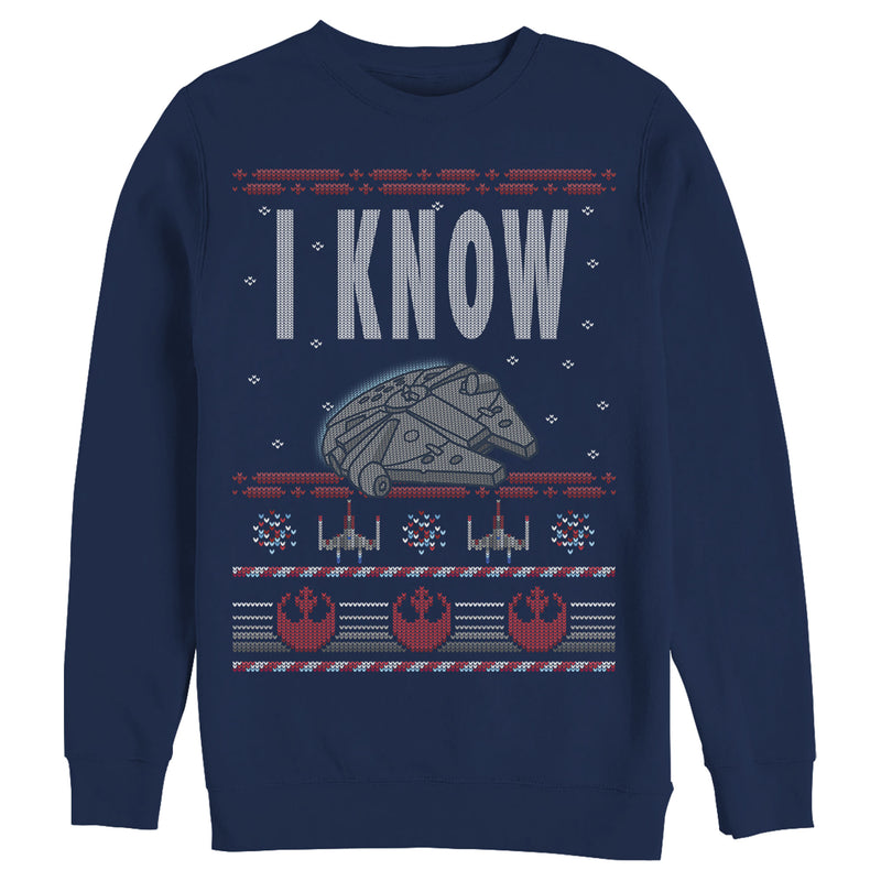 Star Wars Men's Christmas I Know Quote  Sweatshirt  Navy Blue  M