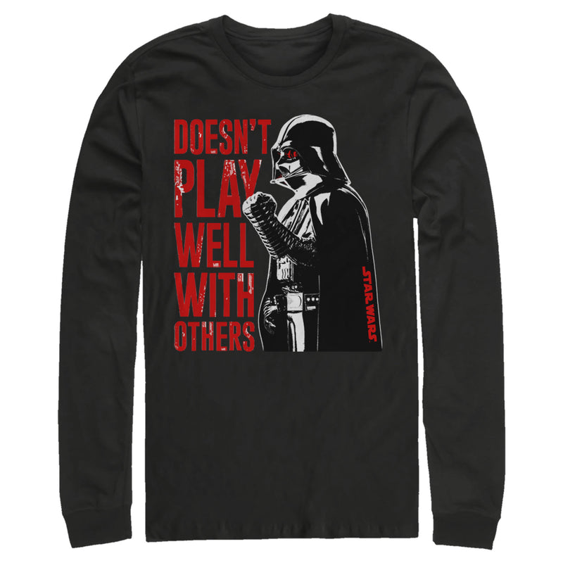 Star Wars Darth Vader Doesn't Play Well Mens Graphic Long Sleeve Shirt