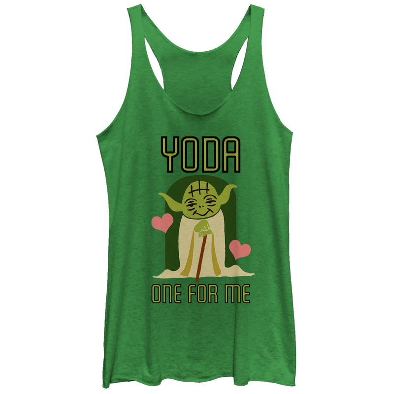 Star Wars Women's Valentine's Day Yoda One for Me  Racerback Tank Top  Envy Green  S
