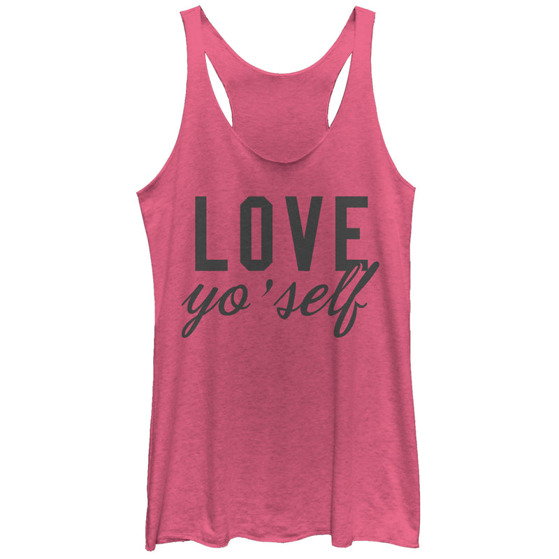 CHIN UP Valentine's Day Love Yo' Self Womens Graphic Racerback Tank